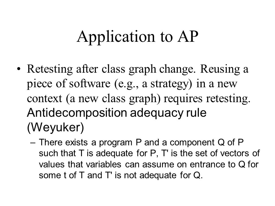 Application to AP Retesting after class graph change. Reusing a piece of software (e.g., a strategy) in a new context (a new class graph) requires ret