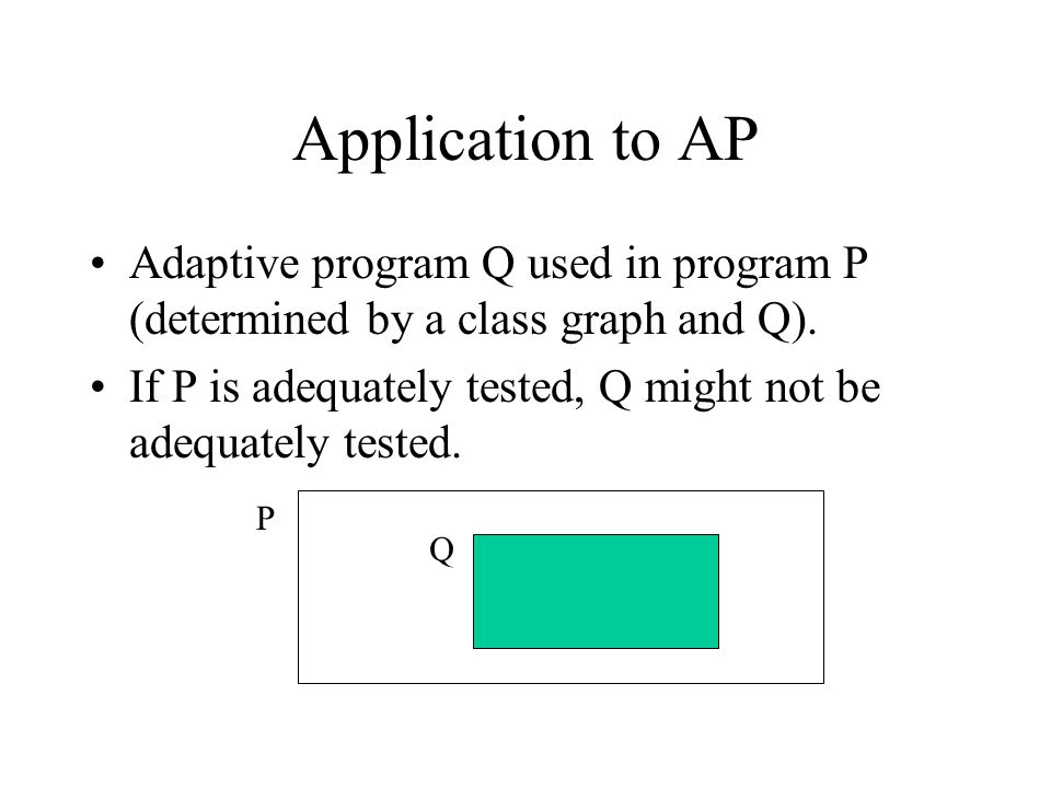 Application to AP Adaptive program Q used in program P (determined by a class graph and Q). If P is adequately tested, Q might not be adequately teste