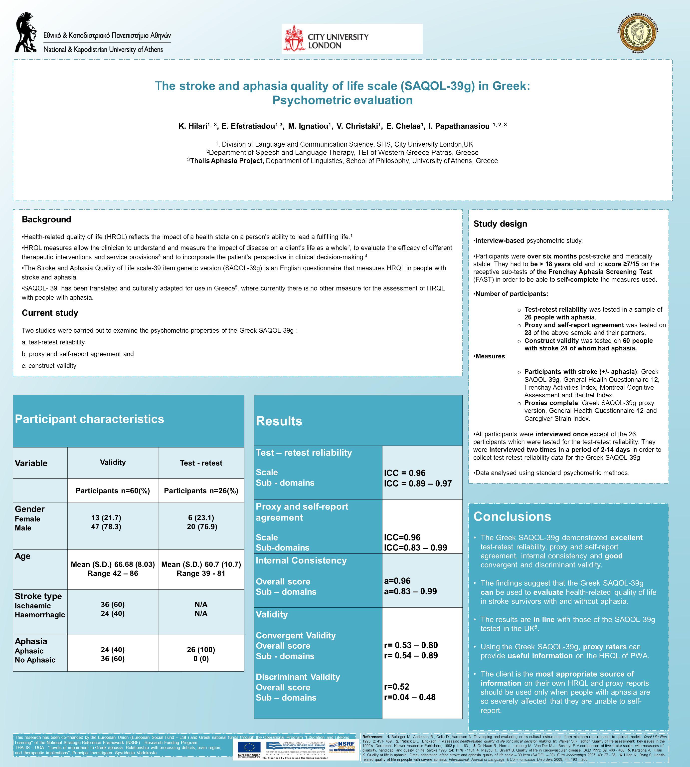 The stroke and aphasia quality of life scale (SAQOL-39g) in Greek: Psychometric evaluation K. Hilari 1, 3, E. Efstratiadou 1,3, M. Ignatiou 1, V. Chri