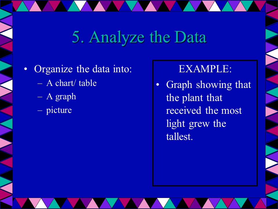 5. Analyze the Data Organize the data into: –A–A chart/ table –A–A graph –p–picture EXAMPLE: Graph showing that the plant that received the most light