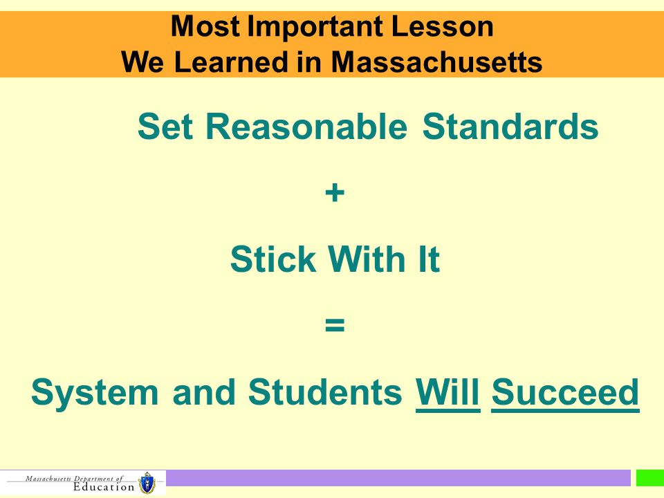 Most Important Lesson We Learned in Massachusetts Set Reasonable Standards + Stick With It = System and Students Will Succeed
