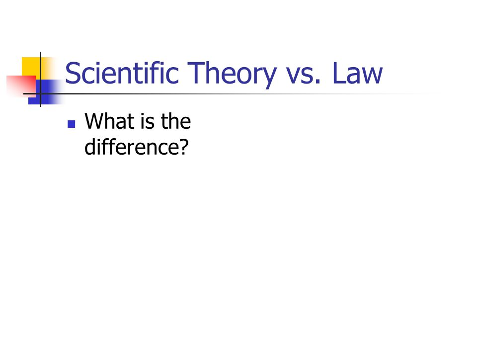 Scientific Theory vs. Law What is the difference?