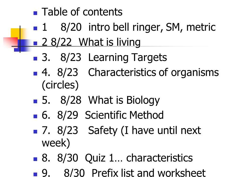 Table of contents 1 8/20 intro bell ringer, SM, metric 2 8/22 What is living 3.