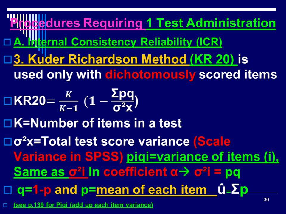Procedures Requiring 1 Test Administration  30