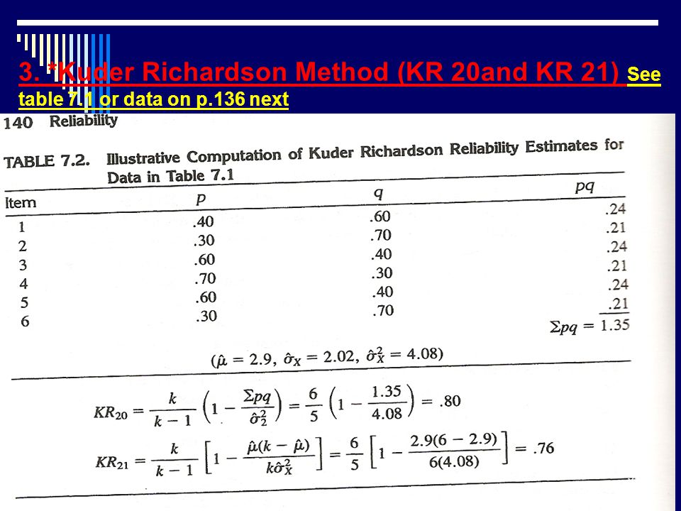 3. *Kuder Richardson Method (KR 20and KR 21) See table 7.1 or data on p.136 next 31
