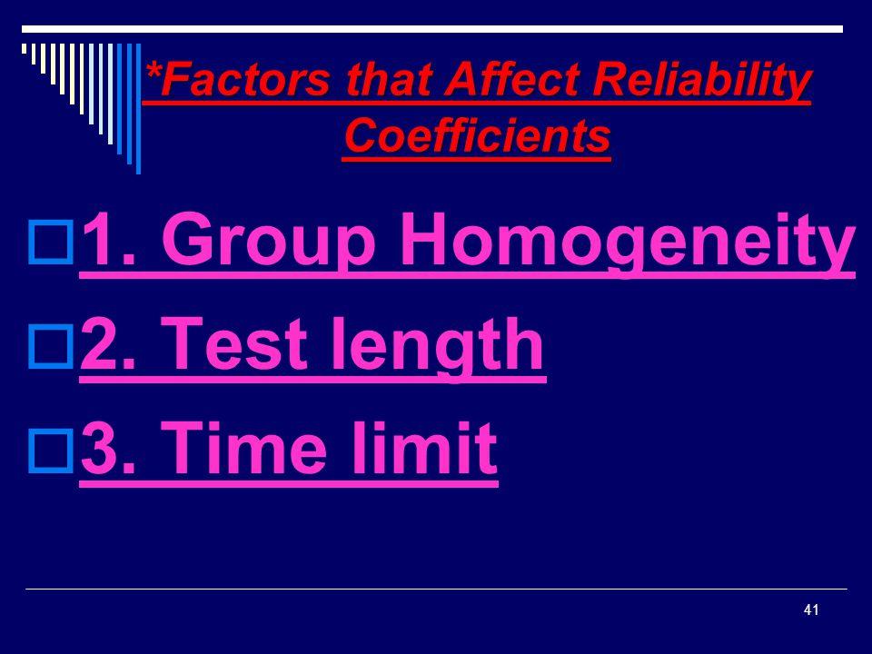 *Factors that Affect Reliability Coefficients  1. Group Homogeneity  2. Test length  3. Time limit 41