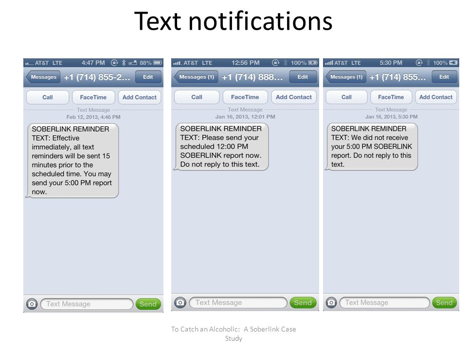 Text notifications To Catch an Alcoholic: A Soberlink Case Study