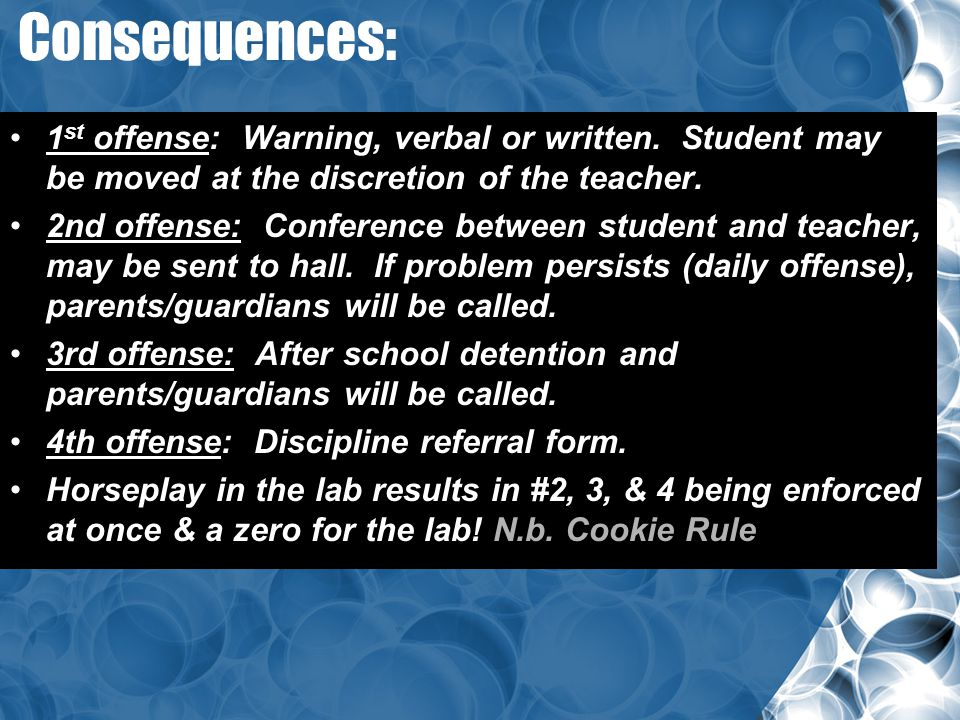 Consequences: 1 st offense: Warning, verbal or written. Student may be moved at the discretion of the teacher. 2nd offense: Conference between student