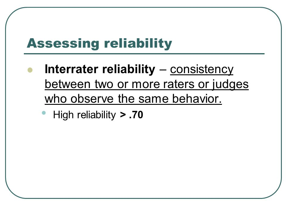Assessing reliability Interrater reliability – consistency between two or more raters or judges who observe the same behavior. High reliability >.70