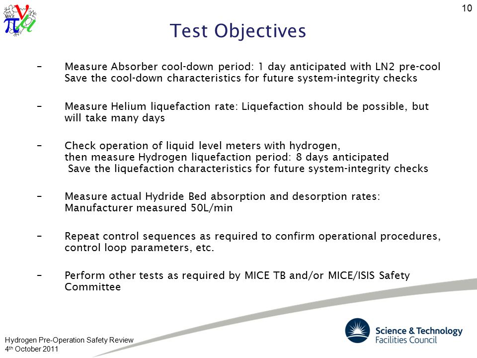 Hydrogen Pre-Operation Safety Review 4 th October 2011 10 Test Objectives –Measure Absorber cool-down period: 1 day anticipated with LN2 pre-cool Save the cool-down characteristics for future system-integrity checks –Measure Helium liquefaction rate: Liquefaction should be possible, but will take many days –Check operation of liquid level meters with hydrogen, then measure Hydrogen liquefaction period: 8 days anticipated Save the liquefaction characteristics for future system-integrity checks –Measure actual Hydride Bed absorption and desorption rates: Manufacturer measured 50L/min –Repeat control sequences as required to confirm operational procedures, control loop parameters, etc.