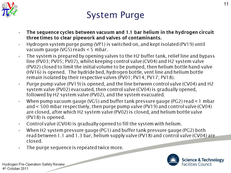 Hydrogen Pre-Operation Safety Review 4 th October 2011 11 System Purge The sequence cycles between vacuum and 1.1 bar helium in the hydrogen circuit three times to clear pipework and valves of contaminants.
