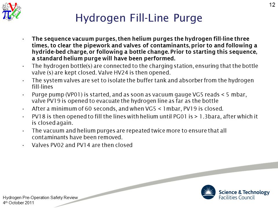 Hydrogen Pre-Operation Safety Review 4 th October 2011 12 Hydrogen Fill-Line Purge The sequence vacuum purges, then helium purges the hydrogen fill-line three times, to clear the pipework and valves of contaminants, prior to and following a hydride-bed charge, or following a bottle change.