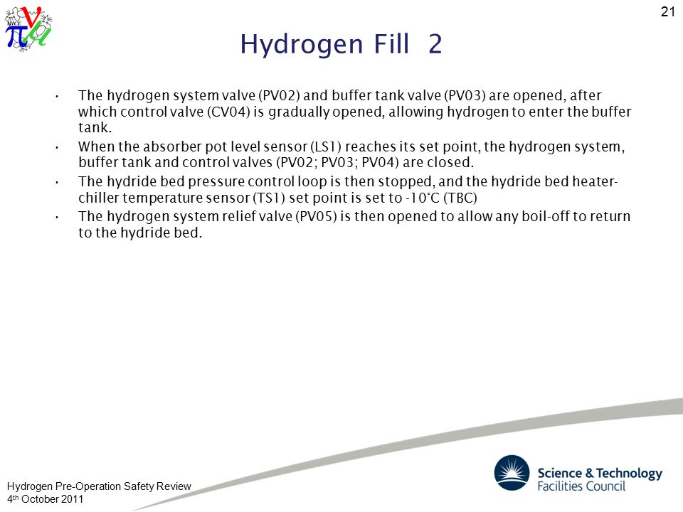 Hydrogen Pre-Operation Safety Review 4 th October 2011 21 Hydrogen Fill 2 The hydrogen system valve (PV02) and buffer tank valve (PV03) are opened, after which control valve (CV04) is gradually opened, allowing hydrogen to enter the buffer tank.
