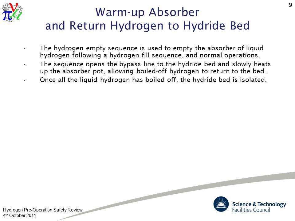 Hydrogen Pre-Operation Safety Review 4 th October 2011 9 Warm-up Absorber and Return Hydrogen to Hydride Bed The hydrogen empty sequence is used to empty the absorber of liquid hydrogen following a hydrogen fill sequence, and normal operations.