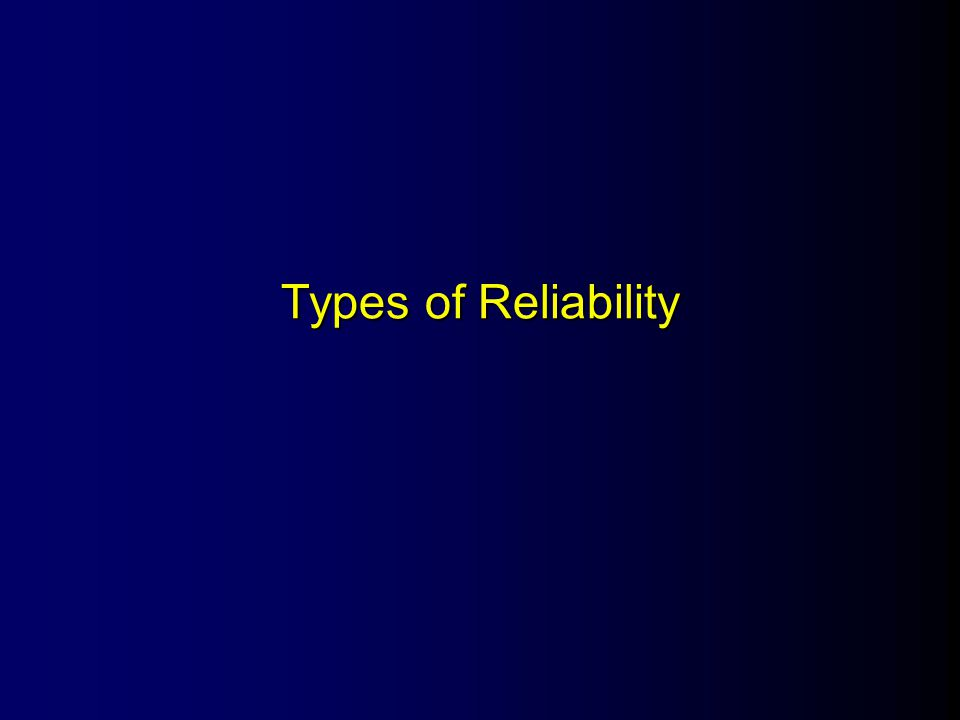 Cronbach's alpha (  ) Internal Consistency Reliability