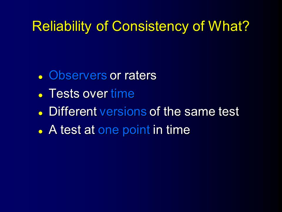 Test Cronbach's alpha (  ) Internal Consistency Reliability