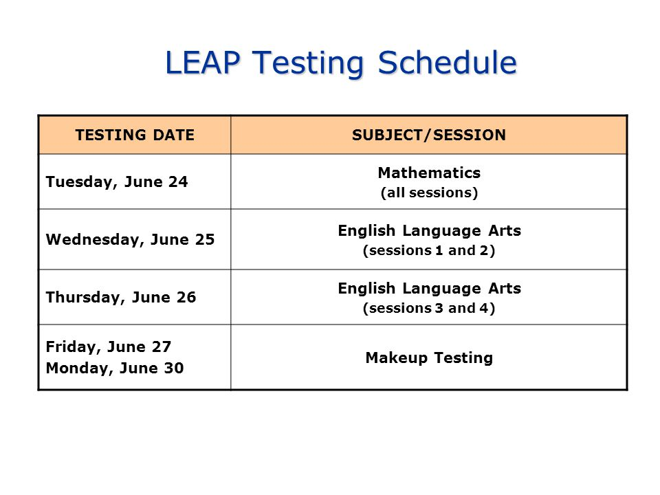 LEAP Testing Schedule LEAP Testing Schedule TESTING DATESUBJECT/SESSION Tuesday, June 24 Mathematics (all sessions) Wednesday, June 25 English Language Arts (sessions 1 and 2) Thursday, June 26 English Language Arts (sessions 3 and 4) Friday, June 27 Monday, June 30 Makeup Testing