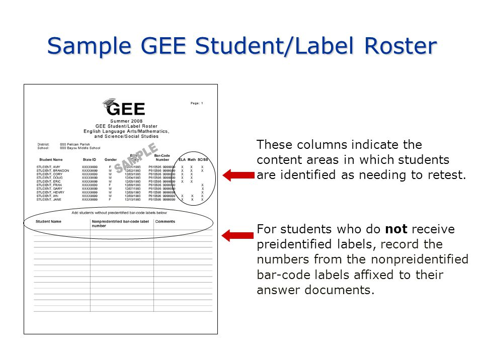 Sample GEE Student/Label Roster These columns indicate the content areas in which students are identified as needing to retest.