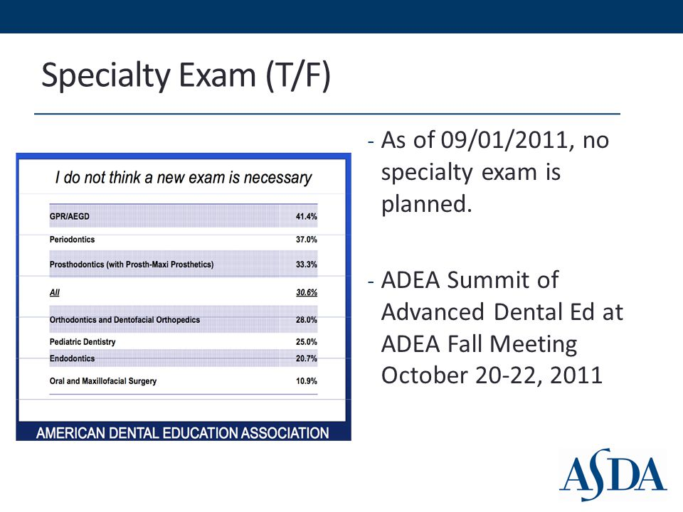Specialty Exam (T/F) - As of 09/01/2011, no specialty exam is planned.