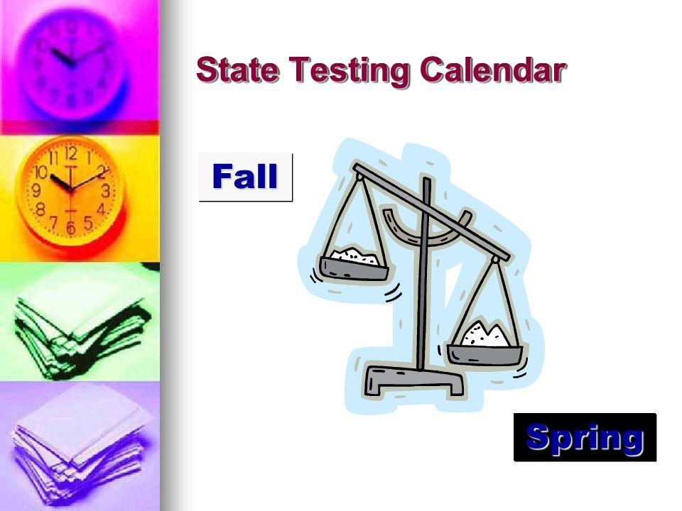 State Testing Calendar FallFall SpringSpring