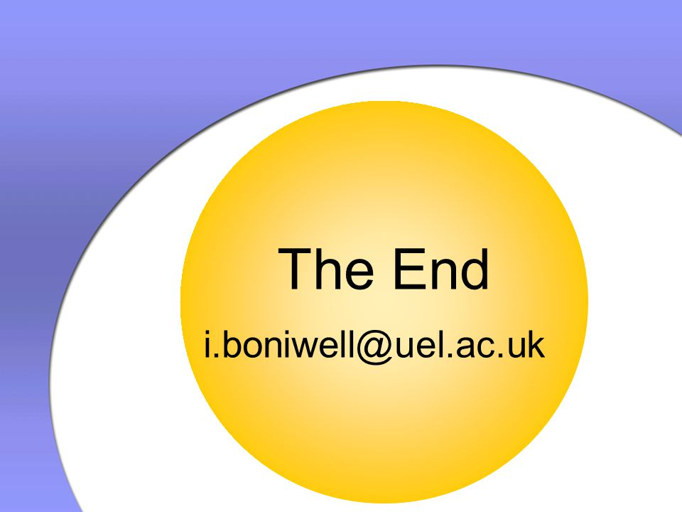 The End i.boniwell@uel.ac.uk