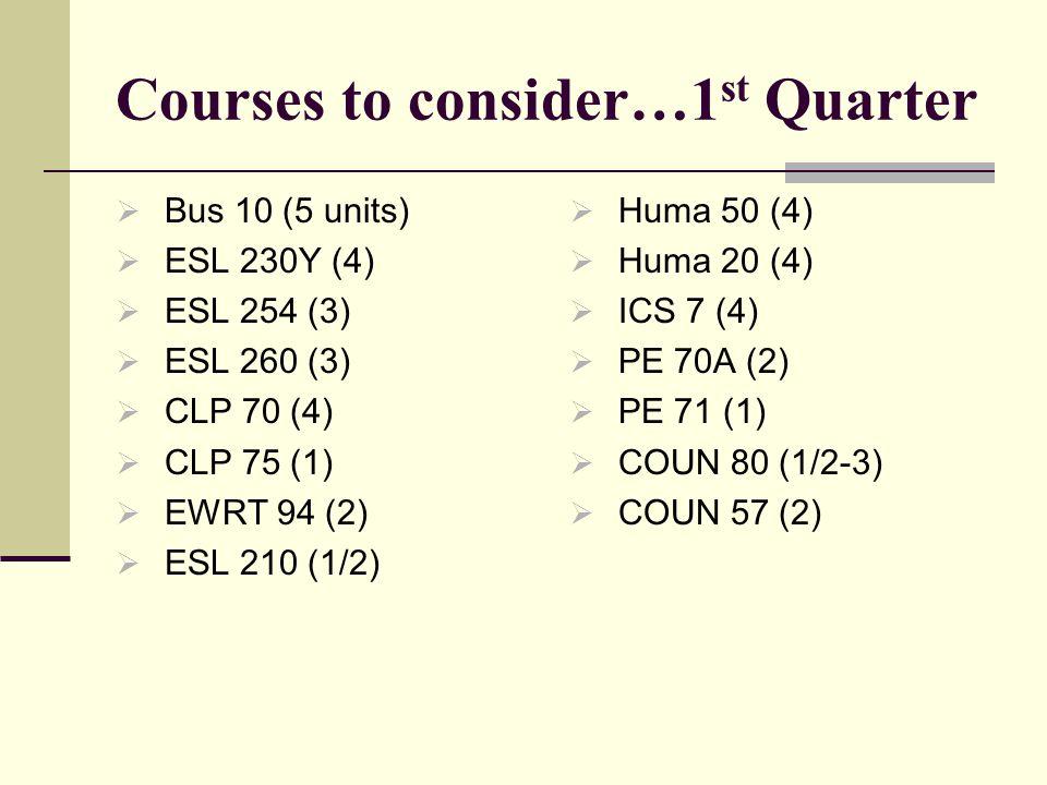 Courses to consider…1 st Quarter  Bus 10 (5 units)  ESL 230Y (4)  ESL 254 (3)  ESL 260 (3)  CLP 70 (4)  CLP 75 (1)  EWRT 94 (2)  ESL 210 (1/2)