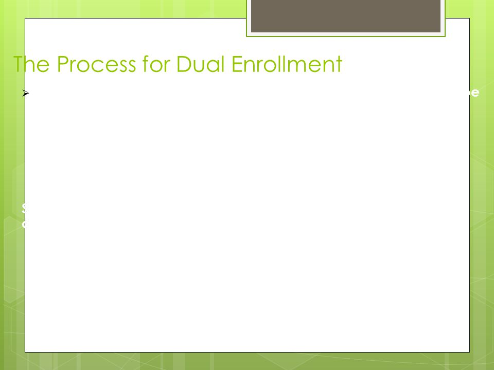 The Process for Dual Enrollment  Student will be sent to registration to register and then they will be given 2 copies of their fee invoice.