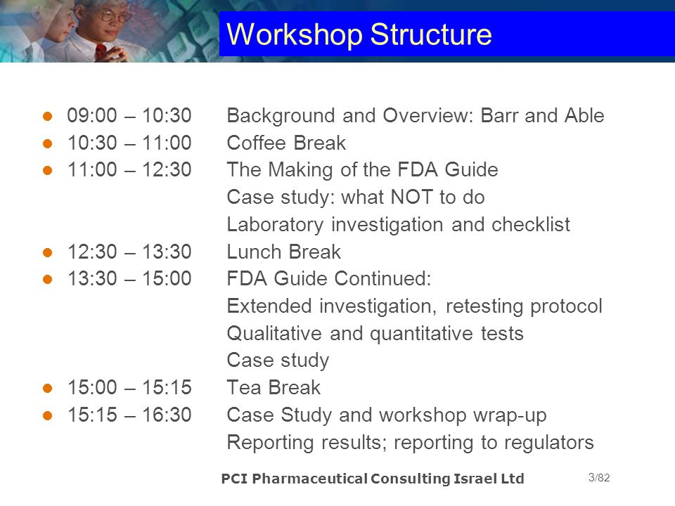 PCI Pharmaceutical Consulting Israel Ltd 4/82 PART 1 – BARR and ABLE Litigation USA regulatory environment around late 1980's through 1993 Current regulatory environment in US Able - 2005