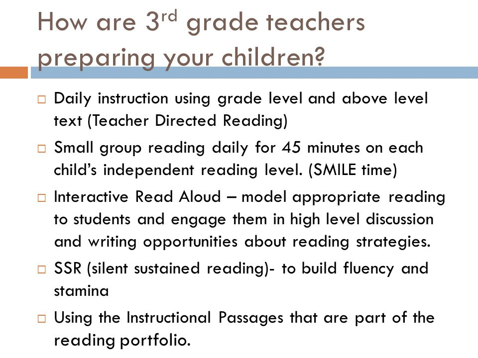How are 3 rd grade teachers preparing your children.