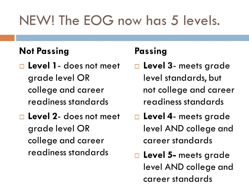 NEW! The EOG now has 5 levels. Not Passing  Level 1- does not meet grade level OR college and career readiness standards  Level 2- does not meet gra