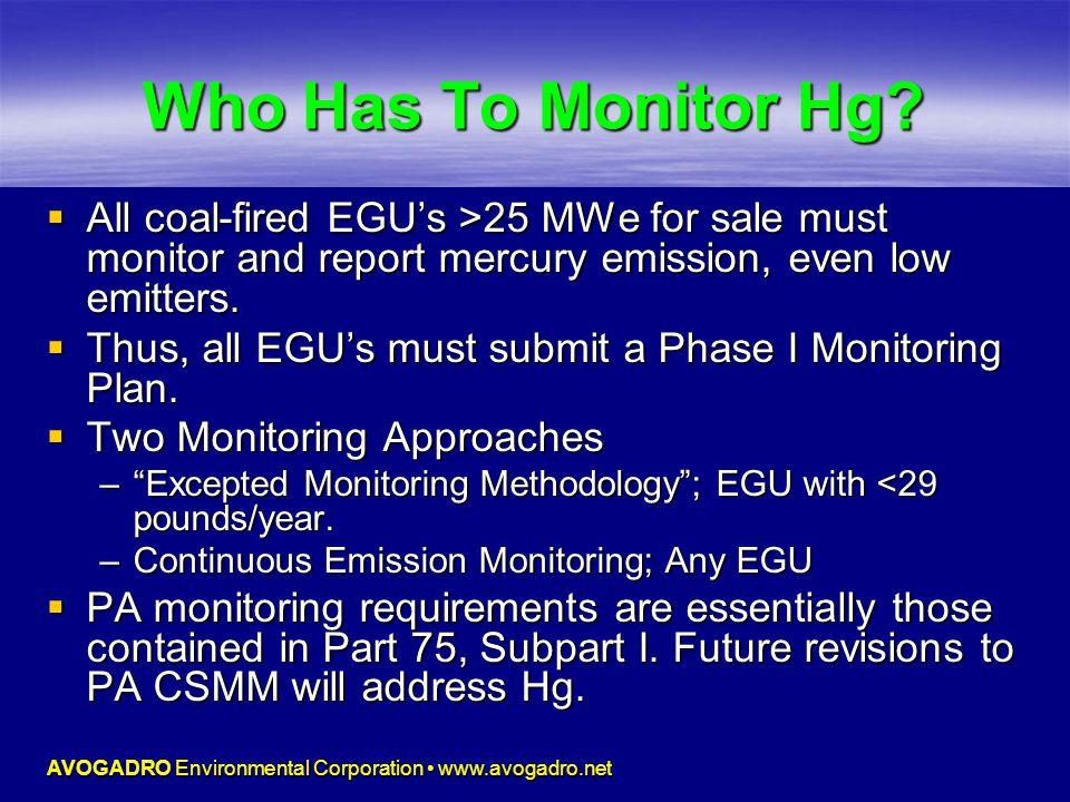 AVOGADRO Environmental Corporation www.avogadro.net Who Has To Monitor Hg.