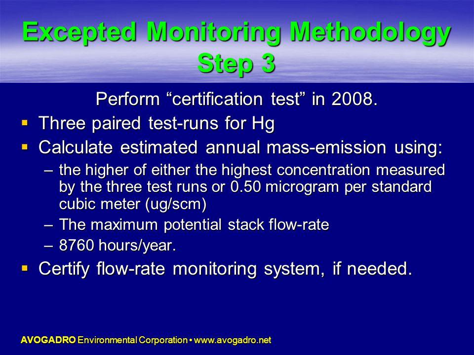 AVOGADRO Environmental Corporation www.avogadro.net Excepted Monitoring Methodology Step 3 Perform certification test in 2008.