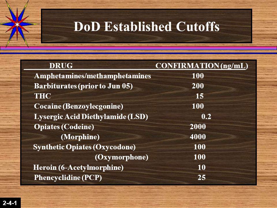 2-1-2 2-4-1 DoD Established Cutoffs DRUG CONFIRMATION (ng/mL) Amphetamines/methamphetamines 100 Barbiturates (prior to Jun 05) 200 THC 15 Cocaine (Ben
