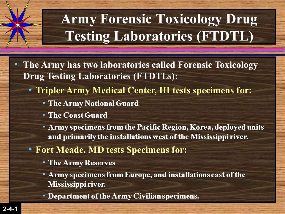2-1-2 2-4-1  The Armed Forces Institute of Pathology (AFIP) located in Rockville, MD certifies the six drug testing laboratories for DoD:  The Navy