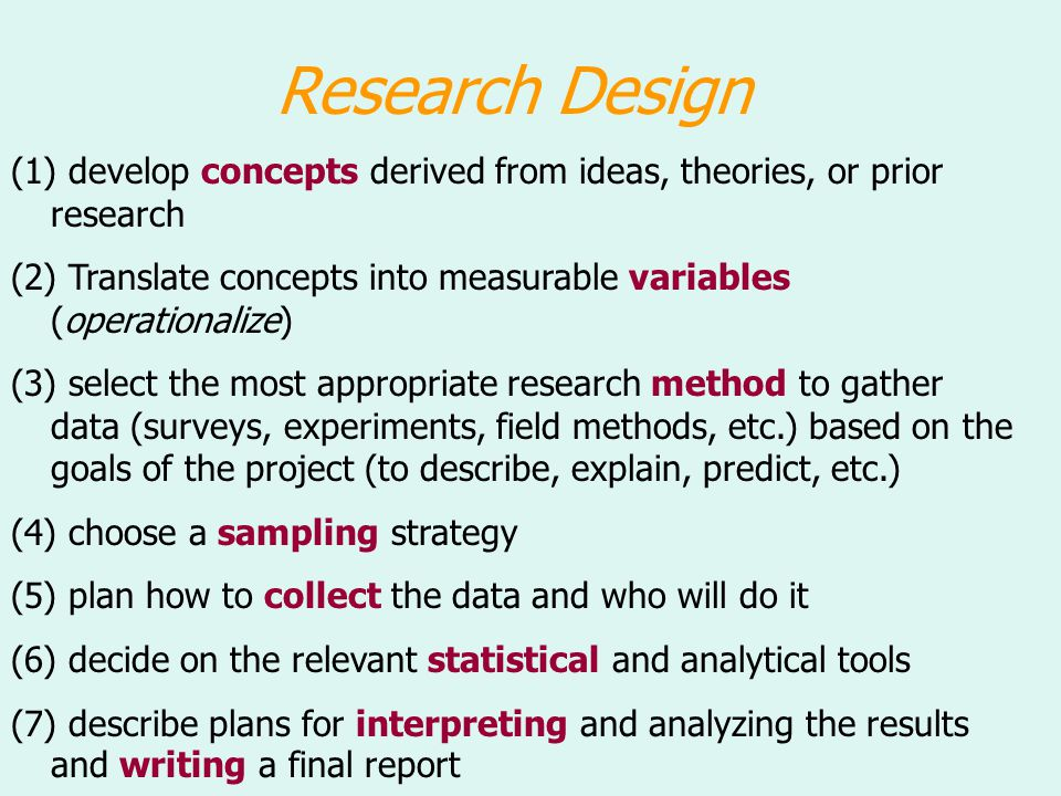 Research Design (1) develop concepts derived from ideas, theories, or prior research (2) Translate concepts into measurable variables (operationalize)