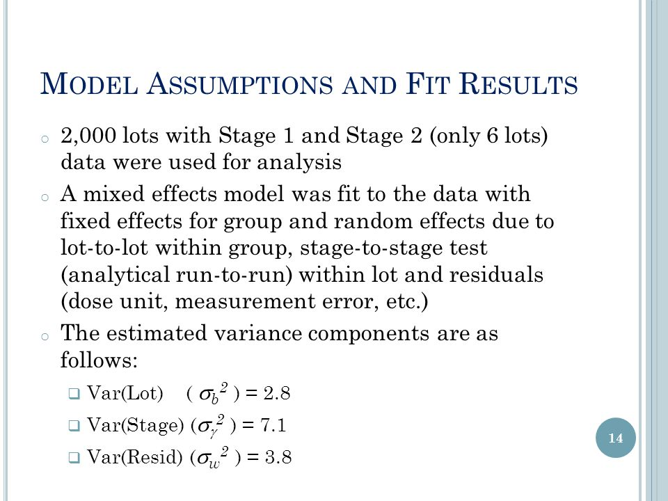 M ODEL A SSUMPTIONS AND F IT R ESULTS o 2,000 lots with Stage 1 and Stage 2 (only 6 lots) data were used for analysis o A mixed effects model was fit to the data with fixed effects for group and random effects due to lot-to-lot within group, stage-to-stage test (analytical run-to-run) within lot and residuals (dose unit, measurement error, etc.) o The estimated variance components are as follows:  Var(Lot) (  b 2 ) = 2.8  Var(Stage) (   2 ) = 7.1  Var(Resid) (  w 2 ) = 3.8 14