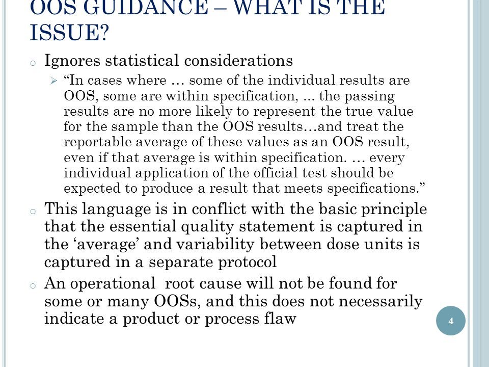 OOS GUIDANCE – WHAT IS THE ISSUE.