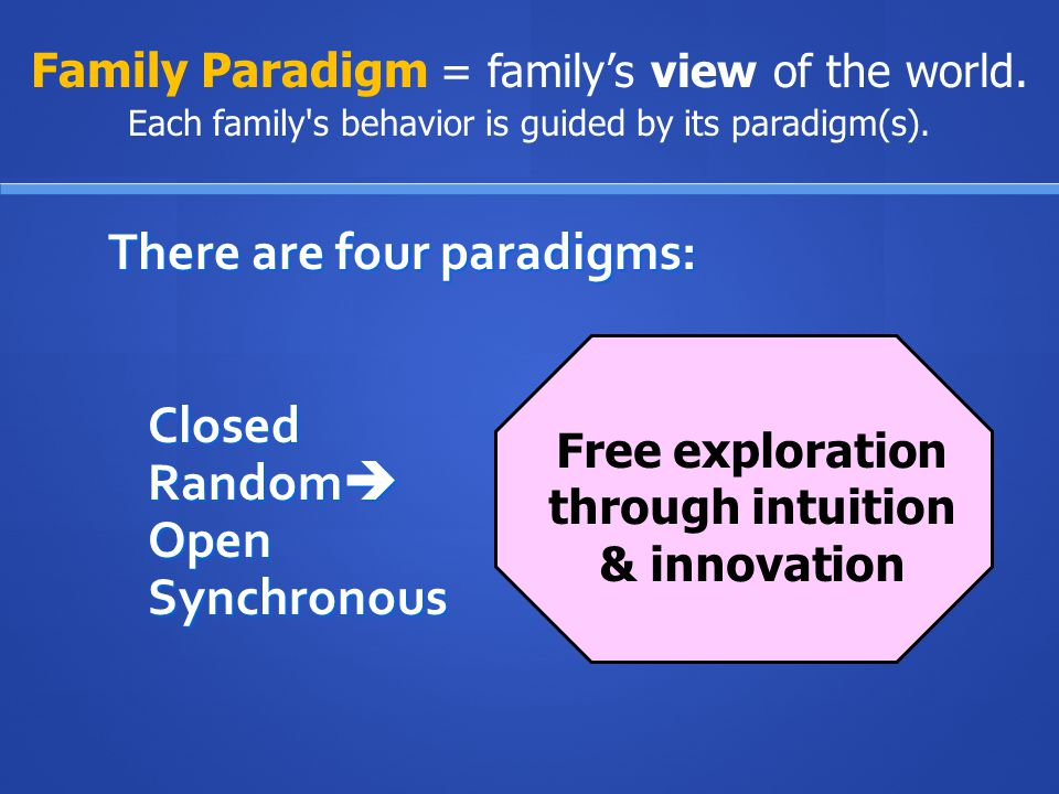 There are four paradigms: Closed Random Open  Synchronous Family Paradigm = family's view of the world.