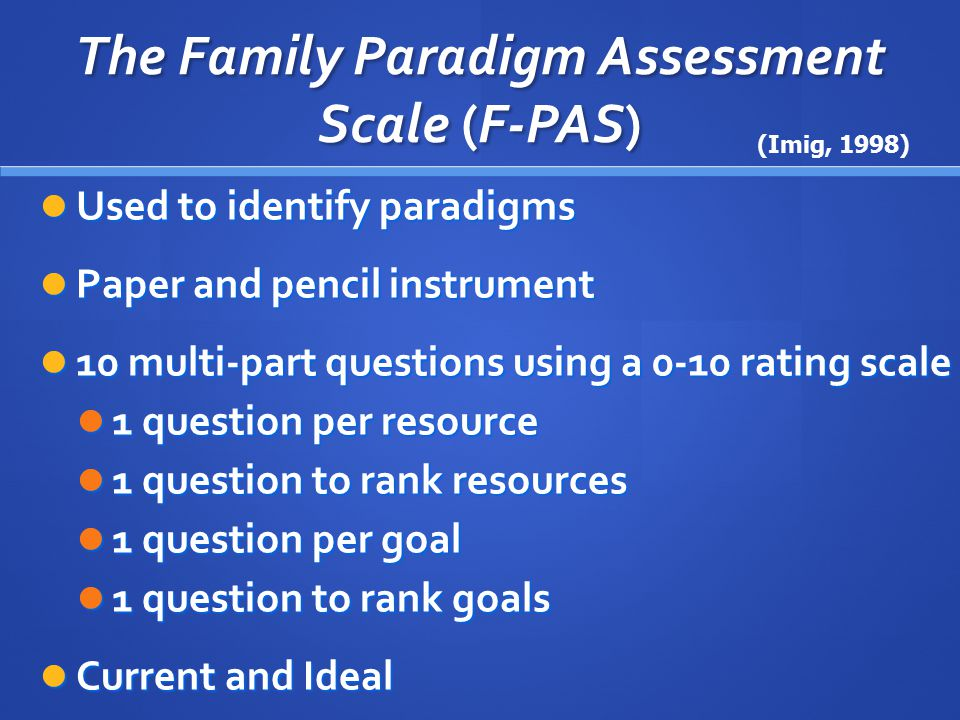 The Family Paradigm Assessment Scale (F-PAS) Cluster Scores Cluster Scores Calculated from the F-PAS Calculated from the F-PAS Range from 0-5 Range from 0-5 0 – family never uses this paradigm 0 – family never uses this paradigm 5 – family uses this paradigm most often 5 – family uses this paradigm most often