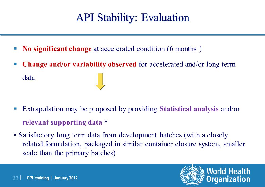 CPH training | January 2012 33 | API Stability: Evaluation  No significant change at accelerated condition (6 months )  Change and/or variability ob