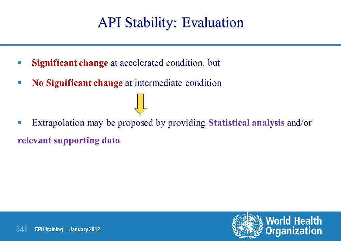 CPH training | January 2012 34 | API Stability: Evaluation  Significant change at accelerated condition, but  No Significant change at intermediate