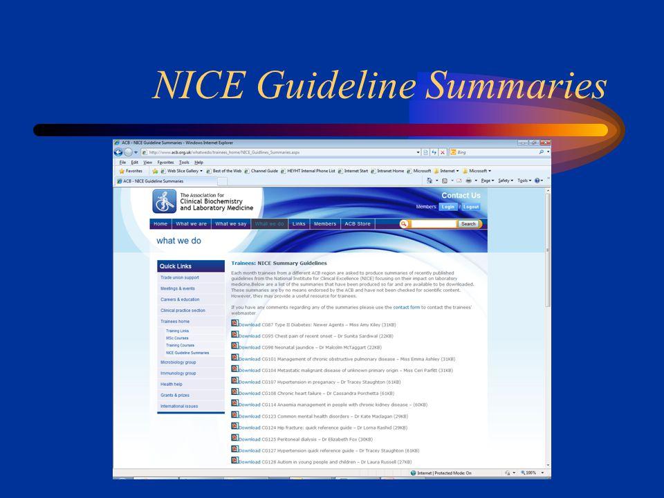 NICE Guideline Summaries