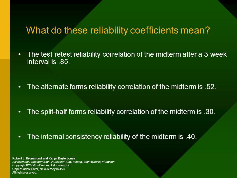 What do these reliability coefficients mean.