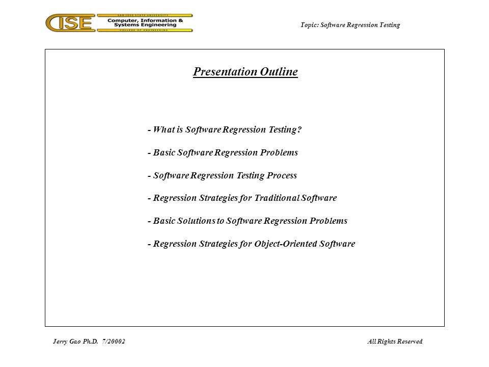 Topic: Software Regression Testing - What is Software Regression Testing.