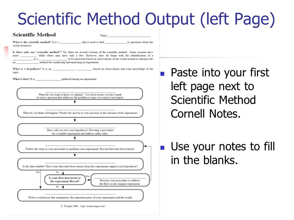 Scientific Method Output (left Page) Paste into your first left page next to Scientific Method Cornell Notes.