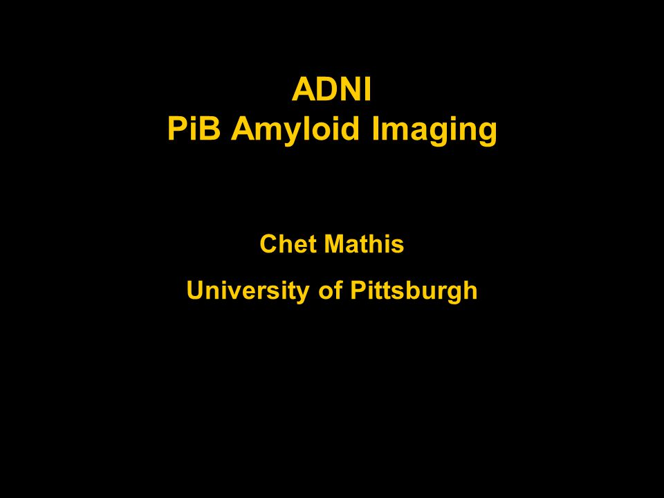 Acknowledgements ADNI PiB Funding Alzheimer's Association GEHC Collaborators Bill Jagust, UC Berkeley Bob Koeppe, U Michigan Norm Foster, U Utah Bill Klunk, U Pittsburgh Julie Price, U Pittsburgh