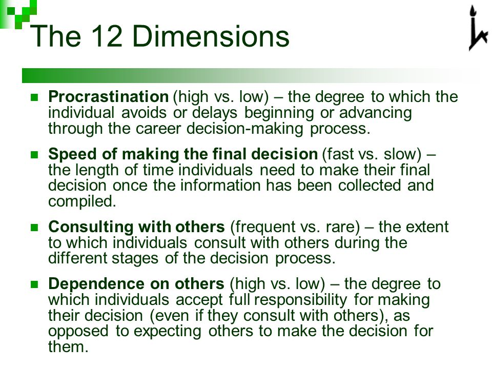 The 12 Dimensions Procrastination (high vs.