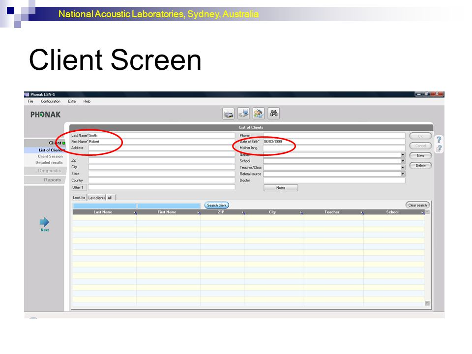 National Acoustic Laboratories, Sydney, Australia Client Screen