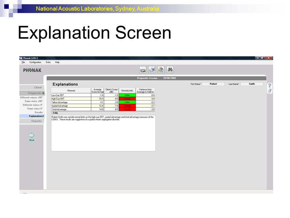 National Acoustic Laboratories, Sydney, Australia Explanation Screen