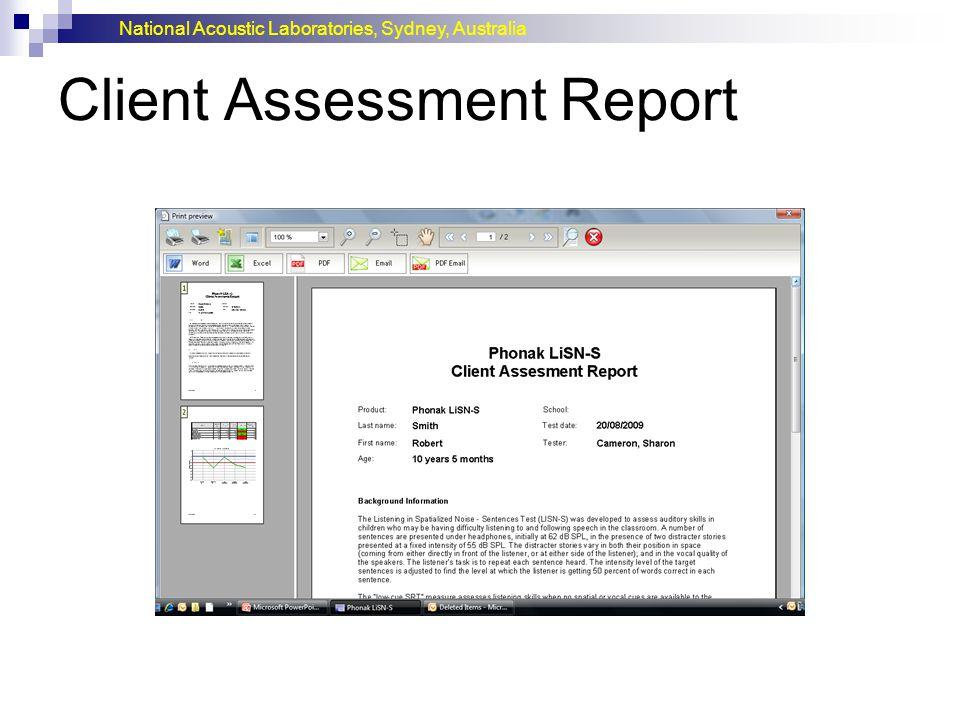 National Acoustic Laboratories, Sydney, Australia Client Assessment Report
